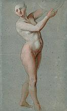 Jacques van Schuppen (Fontainebleau 1670-1751 Vienne) A female nude, full-length, holding a globe to the right black chalk and pastel on blue (slightly discoloured) paper 18 3/8 x 11 in. (46.8 x 28.1 cm.)