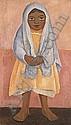 Niña con rebozo gris, Diego Rivera, Click for value