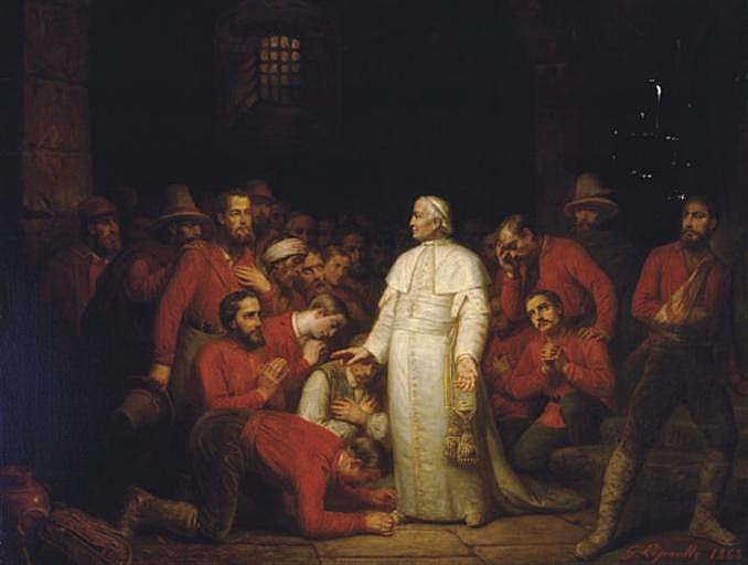 Pope Pius IX visiting the troops of Garibaldi