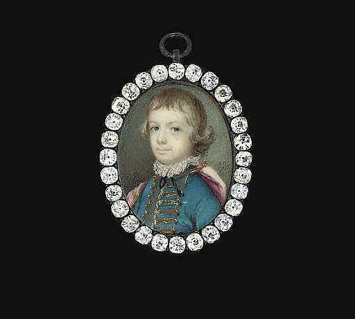 A boy, in turquoise coat with gold frogging and gold buttons, white frilled collar, black ribbon tied at neck, red cloak draped across shoulders fastened about neck with gold clasp and chain