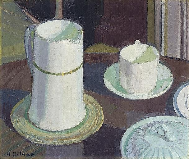 Still life of white cup, saucer and jug on a table