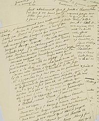 """[CÉLESTIN NANTEUIL (1813-1873)]. Copie anonyme de la lettre de Célestin Nanteuil adressée à Victor Hugo. Datée """"Rivert 21 juin 1836"""". 5 feuillets in-8, au recto seulement (201 x 155 mm)."""