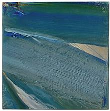OLIVIER DEBRÉ (1920-1999) Loire Bleu vert D'hiver huile sur toile 100 x 100 cm.