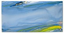Olivier Debré (1920-1999) Bleu gris mouvant à la tache jaune huile sur toile 180 x 350 cm.