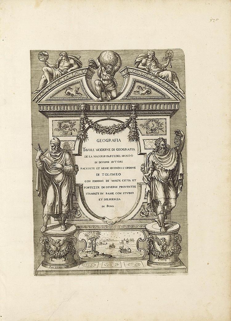 [LAFRERI, Antonio (c.1512-1577) and Claudio DUCHETTI (d.1585)]. Geographia tavole moderne di geografia de la maggior parte del mondo di diverse autori raccolte et messe secondo l'ordine di Tolomeo con i disegni di molte citta et fortesse di