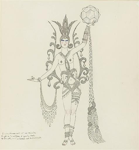 BARBIER, George (1882-1932). Album de 31 gouaches originales de George Barbier, exécutées vers 1919, mine de plomb et lavis, sur papier vélin (chaque feuille environ 260 x 240 mm), dont une signée du monogramme