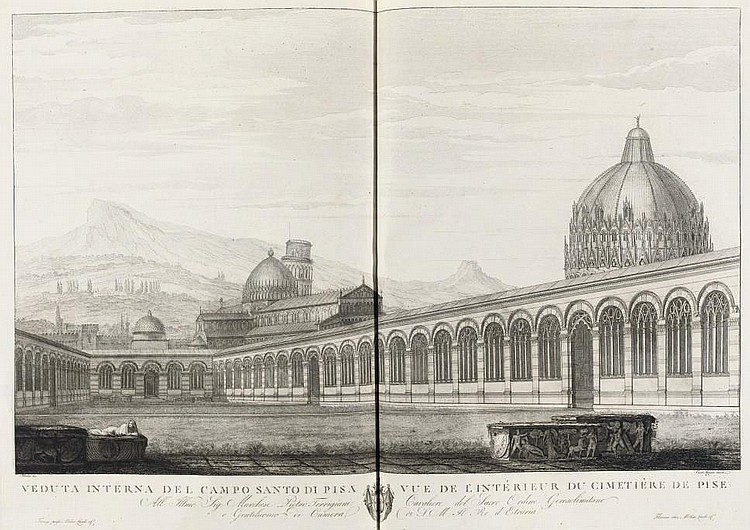LASINIO, Carlo (1759-1838). Pitture a fresco del Campo Santo di Pisa. Florence: Molini, Landi e Campagno, 1812. 2° (595 x 470mm). Double-page letterpress title with engraved vignette, 40 etched and engraved double-page plates (ca. 475 x 805mm)