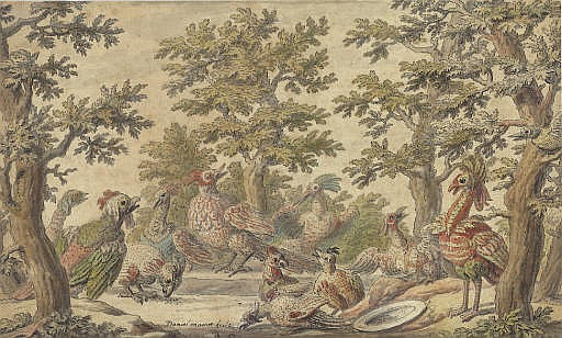 Fantastic birds frolicking in a wooded landscape