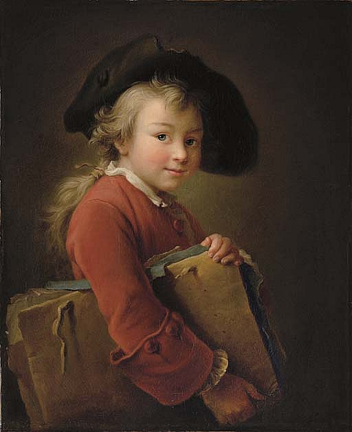 A young boy in a red jacket and black hat, holding a portfolio