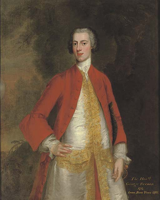 Portrait of George, 1st Baron Vernon of Sudbury, Derbyshire (b. 1707-8), three-quarter-length, in a red coat and white waistcoat with gold trim, in a landscape