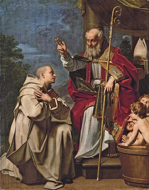 Saint Nicholas with the three school children and a Carthusian monk