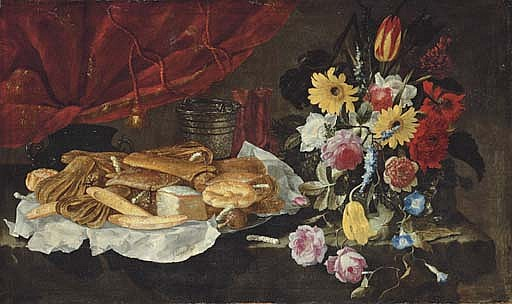 Roses, carnations, tulips and other flowers in a glass vase, with pastries and sweetmeats on a pewter platter, on a stone ledge in front of a red curtain