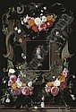 A cartouche surrounded by garlands of roses, thistle, holly and other flowers and butterflies with a later portrait of a gentleman, seated, bust-length, in a black cloak with a lace collar, Daniel Seghers, Click for value