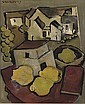 Stilleven met kweeperen, maquette en huizengroep - A still life with quince pears, model and a village, Otto