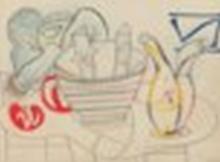 FRANÇOISE GILOT (b. 1921) L'huilier espagnol coloured wax crayons and penci