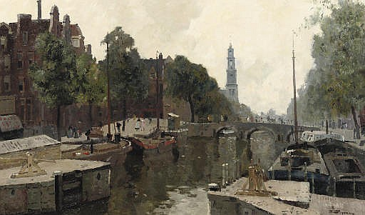 The corner of the Korte Prinsengracht and Brouwersgracht, with the Zuiderkerktoren beyond, Amsterdam