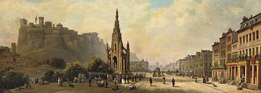 Daily activities by the Scott Monument in Princes Street, Edinburgh