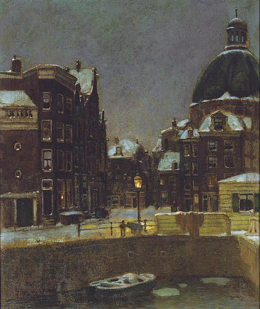 Ronde Lutherse Kerk: the Singel on a winters night