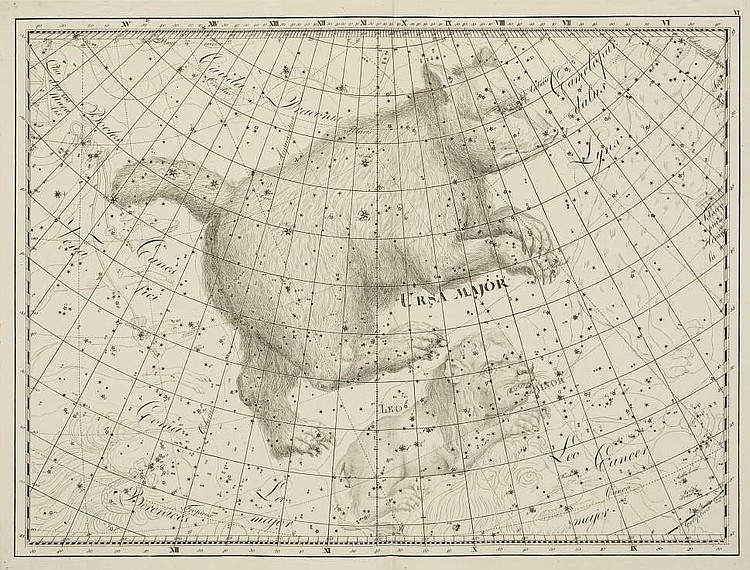 BODE, Johann Elert (1747-1826). Uranographia, sive astrorum descriptio . Berlin: by the author, 1801. 2° (630 x 422mm). Double-page engraved title, 3pp preface, index, 20 double-page engraved celestial maps decorated with celestial figures