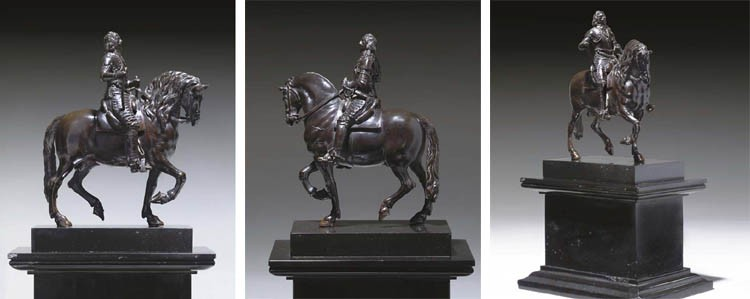 A BRONZE EQUESTRIAN GROUP OF CHARLES I