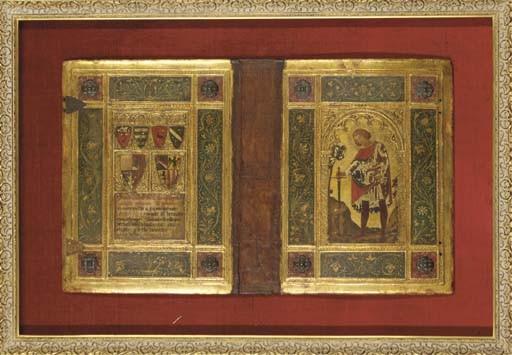 JONI, Icilio Federico (né vers 1865/66) - Reliure peinte sur deux ais de bois, dans le style de