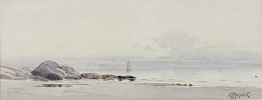 Rocky coast with a sailboat in the distance; also two works by other hands