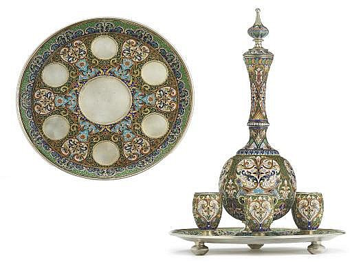 A Silver-Gilt and Cloisonné Enamel Vodka Set