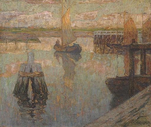 Boats moored in a port