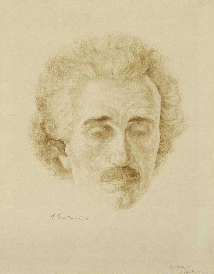[EINSTEIN, Albert]. GEORGIEV, Boris, artist (1888-1962). Sepia crayon portrait of Albert Einstein, pencil signed