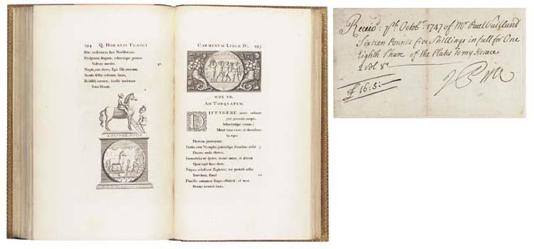 HORACE (65-8 B.C.) -- PINE, John, engraver (1690-1756). <I>Opera</I>. London: John Pine