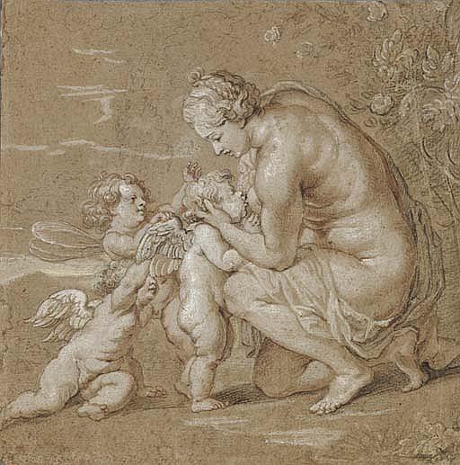 Venus suckling putti