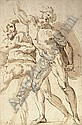 A nude warrior with a shield reaching up to the left, two crouching nudes to the left, Baccio Bandinelli, Click for value