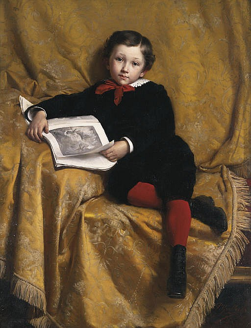 Portrait of a boy, seated, holding an open book