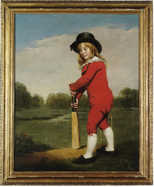 The Red Boy: Portrait of Master McDonough, full-length, in a red jacket and breeches with a black hat, holding a cricket bat, in a wooded landscape