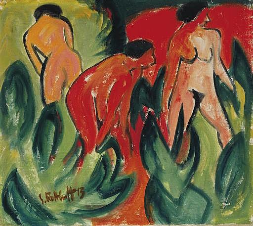 Akte im Freien (Drei badende Frauen)