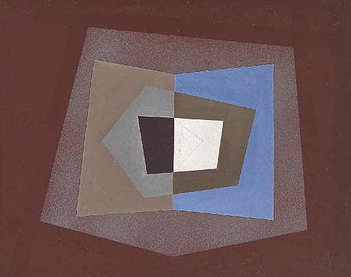 Abstraction with Blue, Brown and Grey Forms