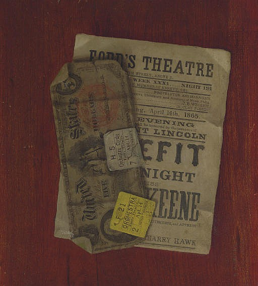 Five Dollar Bill, Program and Ticket Stubs from Ford's Theatre