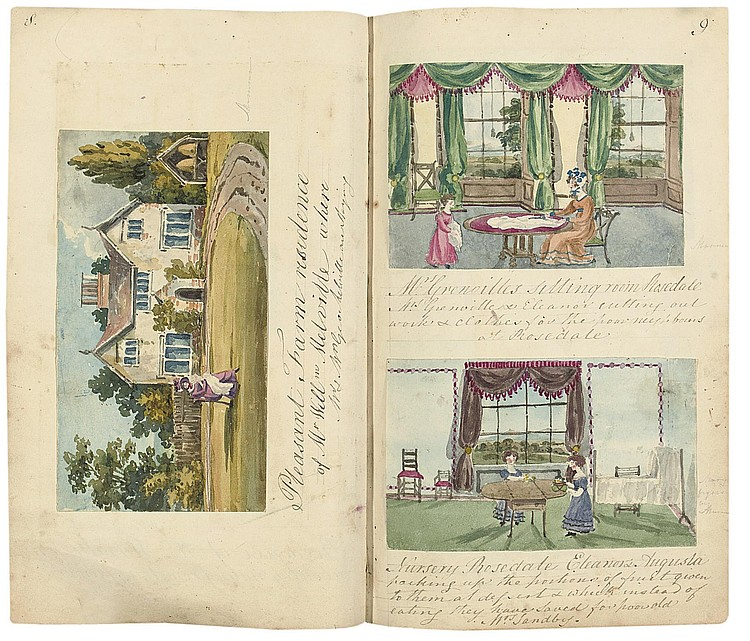 YELLOLY, Mary (1816-1838). 'A Picture History of the Grenville Family', [Carrow Abbey, Norwich, 1825 - August 1829], 257 ORIGINAL DRAWINGS IN WATERCOLOUR, most by Mary but also by her mother and siblings, manuscript captions, introductory pages