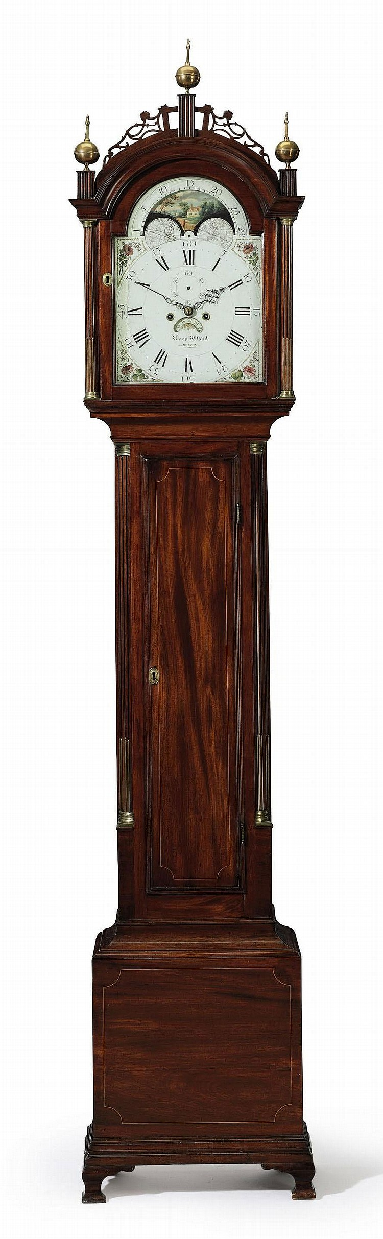 A FEDERAL INLAID AND BRASS-MOUNTED MAHOGANY TALL-CASE CLOCK