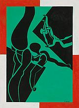 Françoise Gilot (b. 1921) Fragile Balance gouache on paper 29.5 x 22 in. (75 x 55.8 cm.)