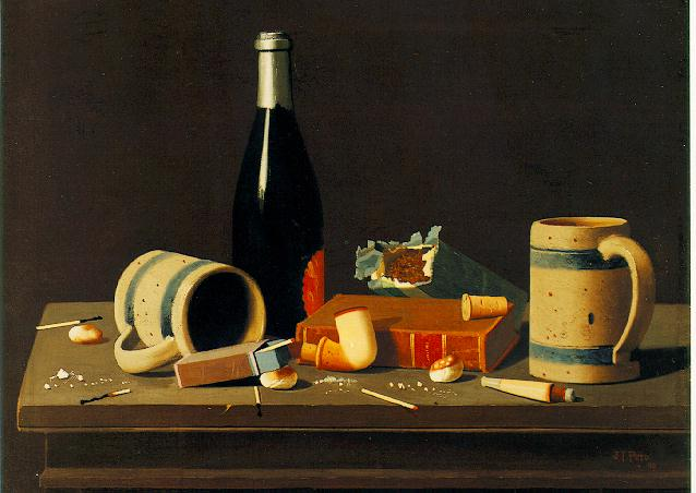 JOHN FREDERICK PETO (1854-1907) Still Life with Mugs, Bottle and Pipe signed