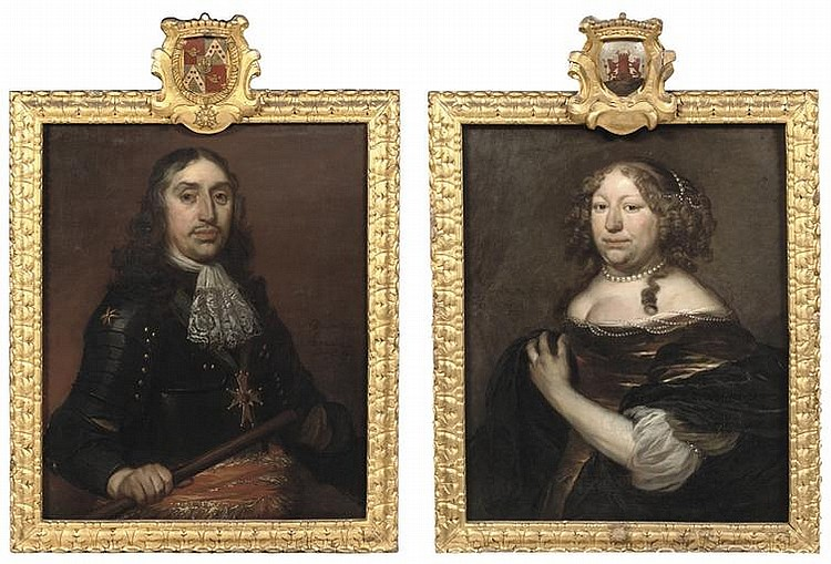 Portait of Hendrik de Sandra, half-length, in black armour and a white lace jabot with the order of Saint Michael on a blue ribon around his neck; and Portrait of Margaretha de Sandra, half-length, in a brown dress with pearls around her neck
