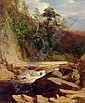 An angler in a river landscape, James William Giles, Click for value
