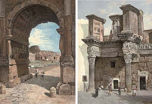 The Colosseum seen through the arch of Titus; A bread shop in the Roman Forum