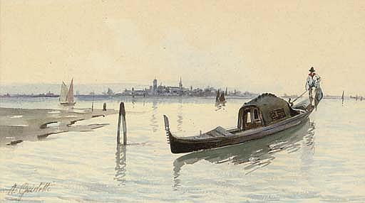 A gondola in the Venetian lagoon