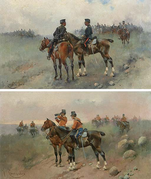 Pareja de cuadros de militares a caballo (Military men on horseback)
