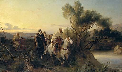 Arab horsemen fording a stream