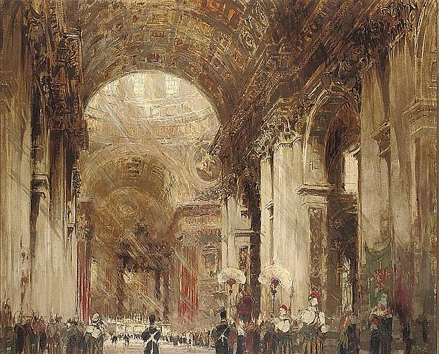 The interior of St. Peter's, Rome