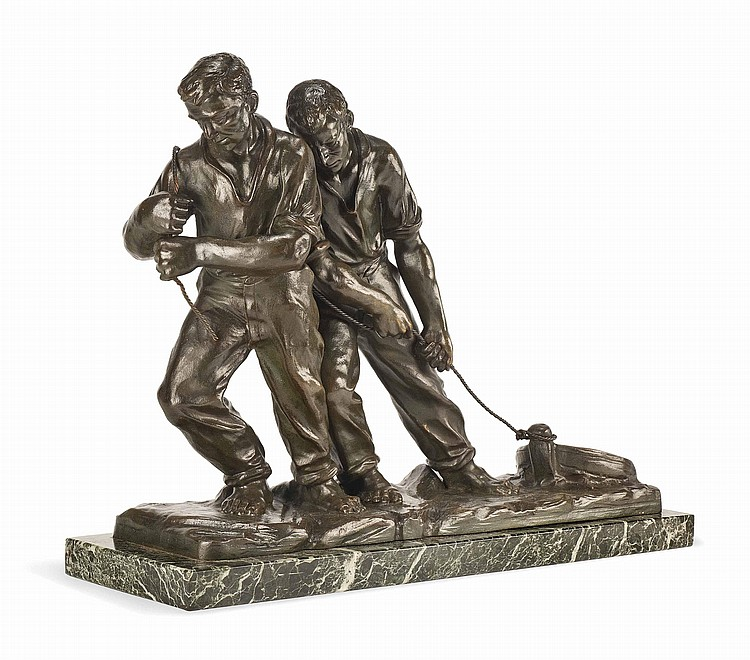 A PATINATED BRONZE MODEL OF TWO SEAMEN