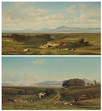 JEAN-ACHILLE BÉNOUVILLE (PARIS 1815 - 1891) Paysage de campagne romaine avec des montagnes ; Paysage de campagne romaine... paire de panneaux, contrecollés sur des panneaux 'Tachet / breveté / à Paris' ; les deux fendus au centre 35,5 x 65 cm.